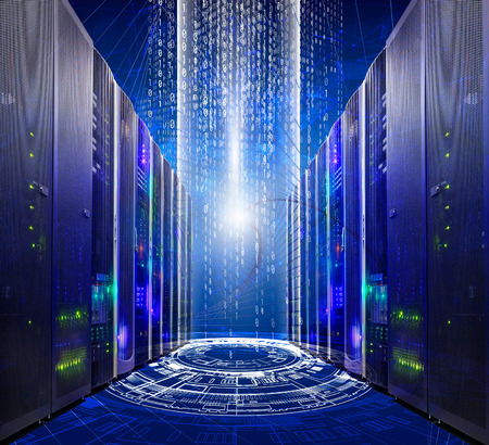 series of modern supercomputers server room data center into futuristic cyberspace Banque d'images