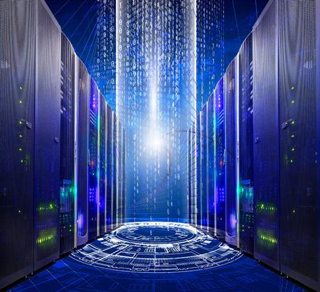 series of modern supercomputers server room data center into futuristic cyberspace Standard-Bild