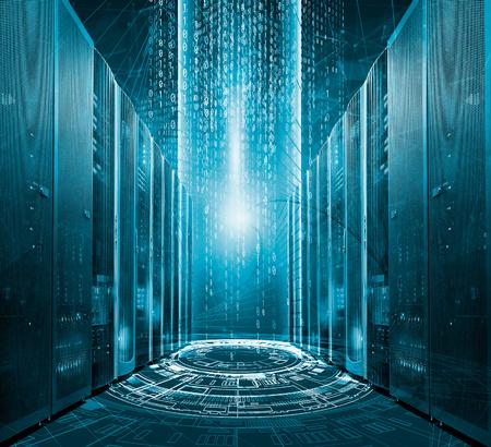 Modern digital graph holograms flying over mainframes of server room in data center