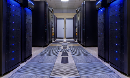 modern server room symmetry ranks supercomputers light Standard-Bild