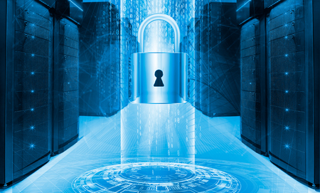 Server data protection concept. Database insurance. Safety of information from virus cyber