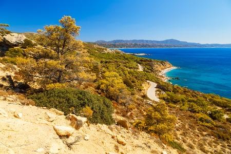 beautiful views of the coast of island of Rhodes Greece Stock Photo