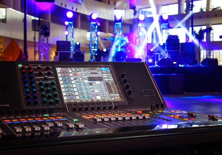 Working sound control panel on background of stage 스톡 콘텐츠