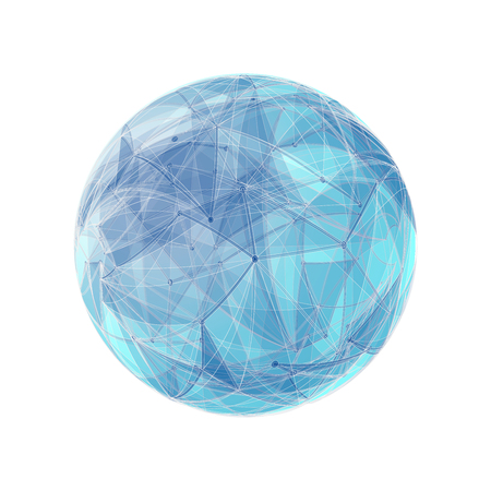 globe grid: Abstract geometric shape with spherical severed off triangular faces. Illustration