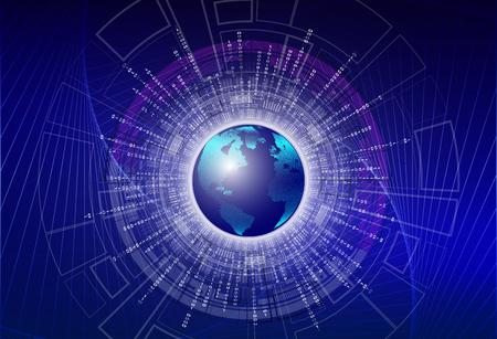 Digital illustration painting - Global digital binary code with digital planet earth, global big data concept.