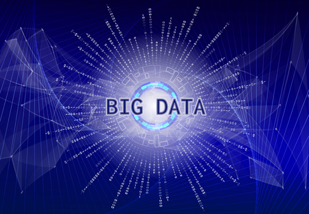 Big data visualization. Futuristic infographic with holographic planet earth and binary code. Information aesthetic design. Visual data complexity. Abstract data graph.
