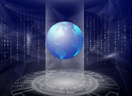 Holographic 3d planet earth against blue abstract background with circles, triangles and binary code