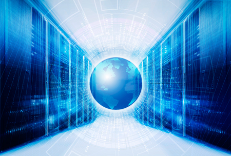 Big data from binary code around planet earth in the symmetrical futuristic modern server room of modern data center