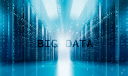 modern server room symmetry ranks supercomputers. Concept of big data pervades the servers of data center
