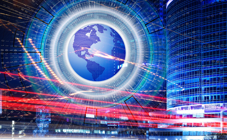 Abstract hi speed internet technology with 3d planet earth and binary code on background of light trails on modern building