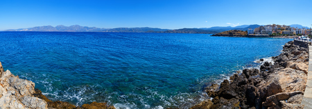 panorama of the coast of the island of Crete in Agios Nicholas, a bright Sunny day.