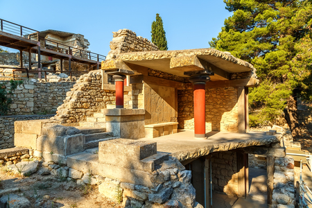 Ancient ruins of famous Knossos palace in Crete, Greece