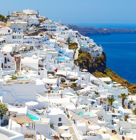 White architecture of Fira town on Santorini island, Greece. Beautiful landscape with sea view