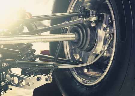 Front wheel of drive car with new tire