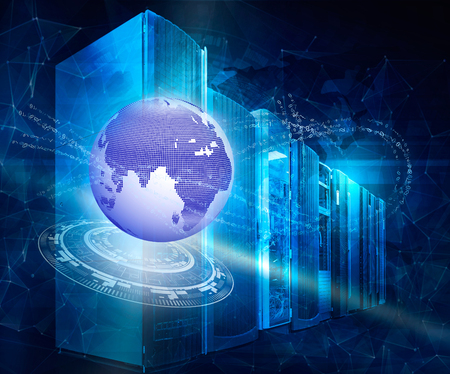 technologie, cyberspace en virtual reality-concept - hologram van earth globe en virtuele schermprojectie