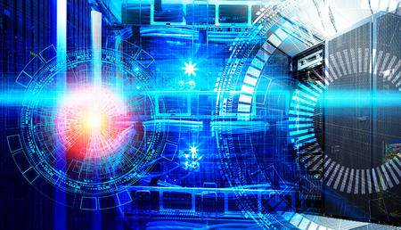 Concept of big data information technology. Servers and cables of modern data center with holograms technological background