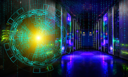 Concept of information technology and big data. technological background of the hologram futuristic server room modern datacenter Stock Photo