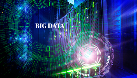 Big data concept. Servers and storage of modern data center with holograms technological background