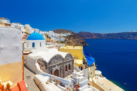 white washed: Greece Santorini island in Cyclades, traditional sights of colorful and white washed walk paths like narrow streets and caldera sea
