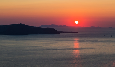 sunset in Santorini island,Greece