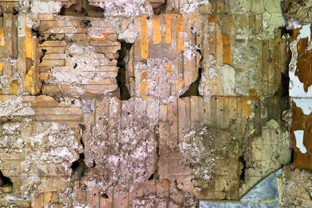 dirty room: texture of the squares and rectangles from the solution to the brickwork of an abandoned building. Old multi colored brick wall