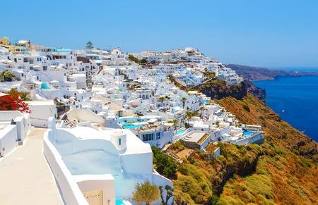 White architecture on Santorini island, Greece. Beautiful view on sea
