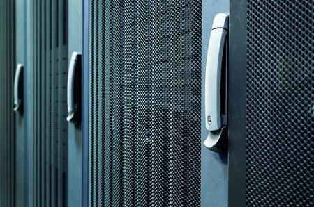 Rows of server hardware box Server Rack in data center Server Room Network communications cluster , Modern interior, Super Computer,