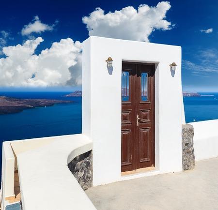 Door to nowhere. One of symbols of Greek island Santorini.