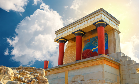 ancient ruines of famouse Knossos palace at Crete, Greece, retro toned Stock Photo