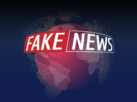 Fake News Live on World Map Background. Business Technology Fake News Background. 向量圖像