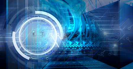 Hologram information technology background with contacts circuit Board on the background of the server room and the patch cord connected to the receivers Banque d'images