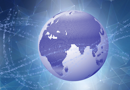 Internet Concept of global business. Globe, glowing lines on technological background. Binary data speeding around the digital earth globe  イラスト・ベクター素材