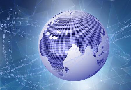 グローバルビジネスのインターネットコンセプト地球儀、技術的背景に輝く線。デジタル地球地球の周りの速度を速めるバイナリ データ