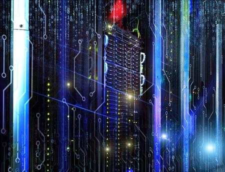Digital Perspectives series. Abstract design made of numbers, light grids and fractal elements on the fantastic view of the mainframe in the data center rows Stock Photo
