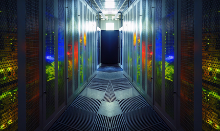 communication equipment room with lighting in data center