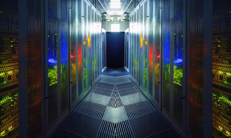 communication equipment room with lighting in data center
