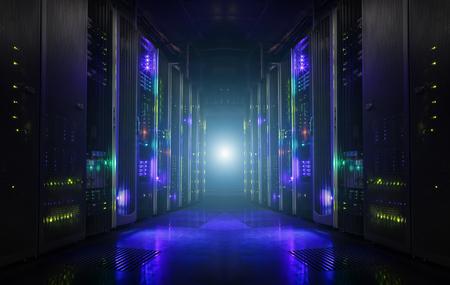 Interior oscuro del almacenamiento del centro de datos de la sala de servidores