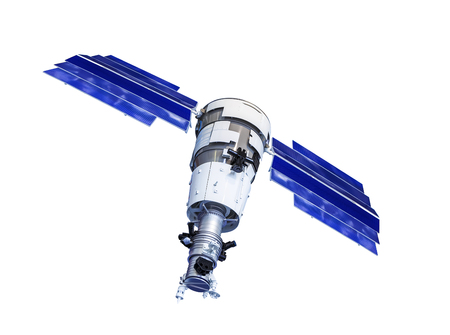 Orbital artificial earth satellite with blue solar panels on the sides surface probing isolated on white background