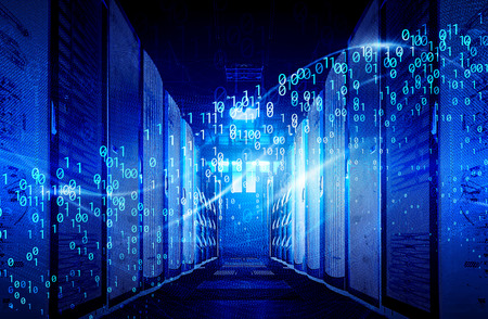 visualisation des flux de données numériques Big Data dans le centre de données. Le concept de la technologie de l'information Big Data.