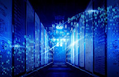 visualizzazione di flussi di dati digitali di big data nel data center. Il concetto di tecnologia dell'informazione dei big data.
