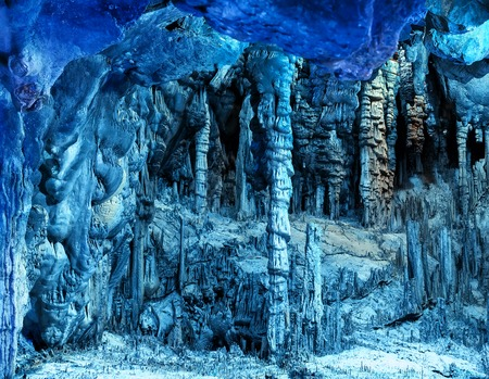 , amazing view on stalactites in colorful bright light, beautiful natural attraction, wonderful nature, touristic place, Reklamní fotografie