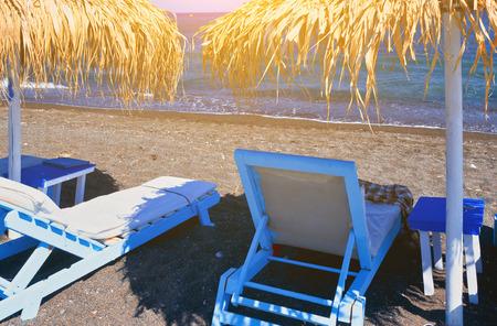 Detail of Perissa beach Black Beach on Santorini island, Greece
