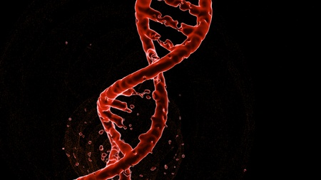 destruction of DNA rupture red on a background of small particles, isolate on a black background