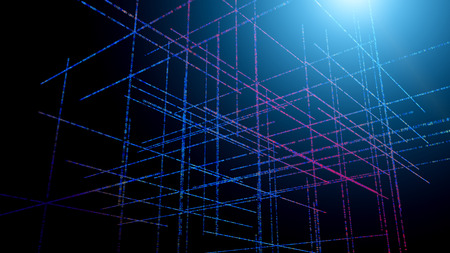 Backdrop of three dimensional fractal structures and lights on the subject of technology, communications, education and science Stock Photo