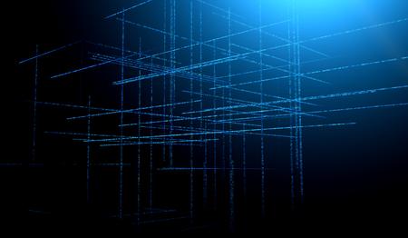 Élément de fond abstrait aux tons bleus sur fond noir. Composition de grilles de motifs matriciels. Graphiques fractals détaillés. Concept de technologie de l'information.