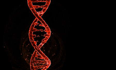 DNA. Abstract 3d polygonal wireframe DNA molecule helix spiral on blue. Medical science, genetic biotechnology, chemistry biology, gene cell concept  illustration or background