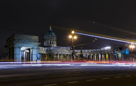 Night Petersburg. St. Petersburg in the winter. Russia. Winter night. Kazan Cathedral in St. Petersburg Foto de archivo