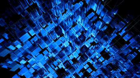 Digital blue hi-tech matrix illumination/ Abstract digital hologram 3D illustration of city with futuristic matrix. Stockfoto - 114484019