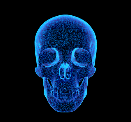 rendered bluish x-ray image of a human skull - side projection Stok Fotoğraf