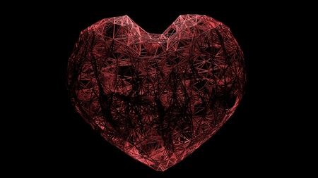 Big heart created by a network of red threads